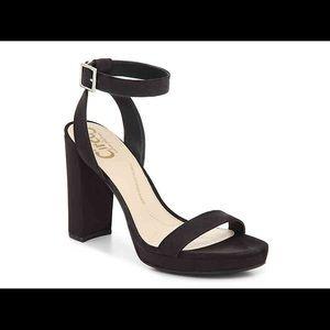 Black strappy heels. Size 9.5.NEVER WORN BRAND NEW